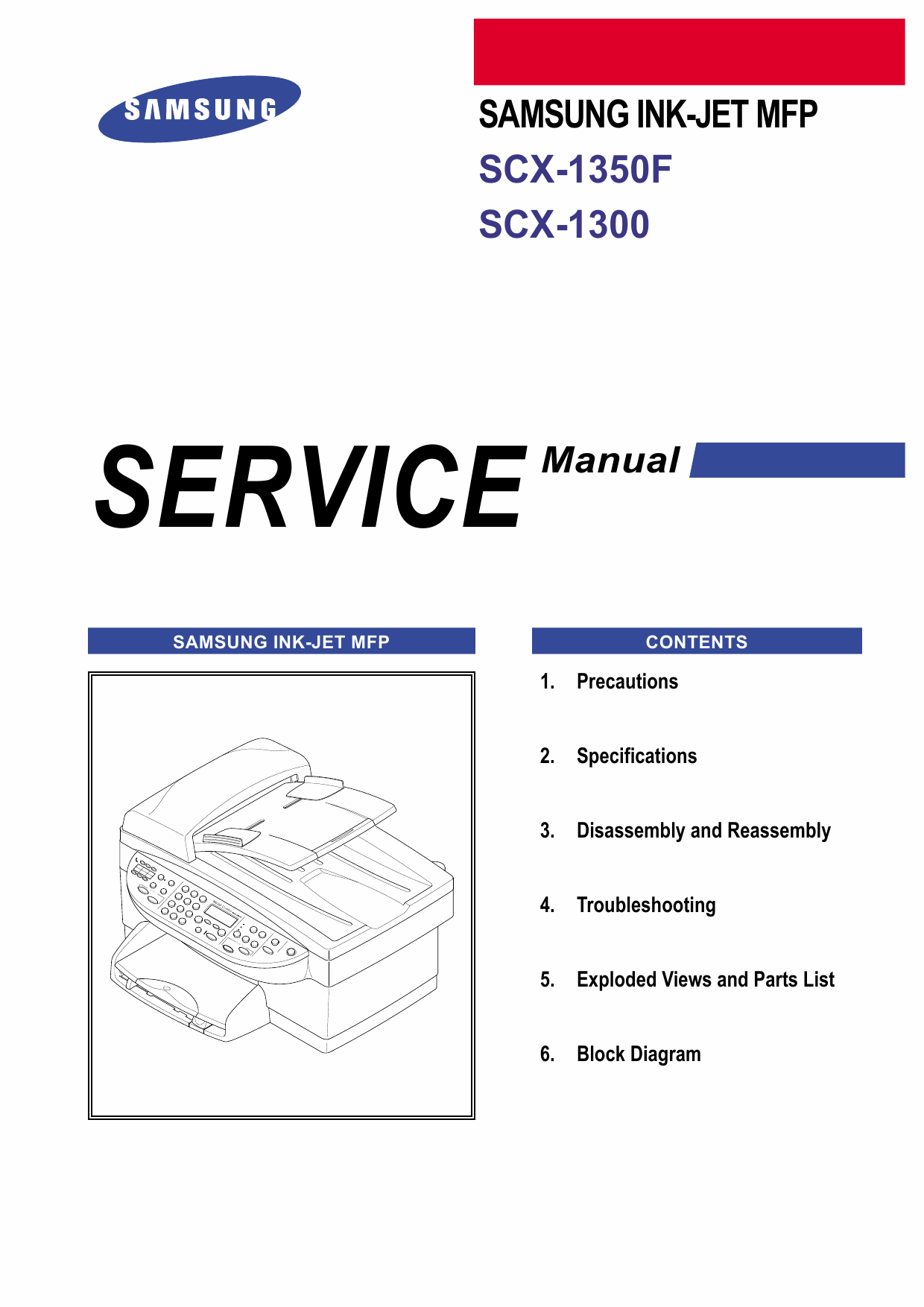 Samsung InkJet-MFP SCX-1350F 1300 Parts and Service Manual-1